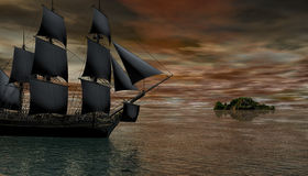 3D digital rendering of a sailing ship  in the early morning. 3D digital rendering of a ship sailing in the early morning Royalty Free Stock Photos