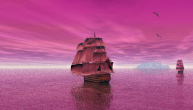 3D digital rendering of a sailing ship  in the early morning. 3D digital rendering of a sailing ship with a British flag sailing in the early morning Stock Photos