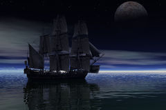 3D digital rendering of a sailing ship  in the early morning. 3D digital rendering of a pirate  sailing at night Royalty Free Stock Image