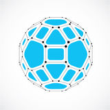 3d  digital wireframe spherical object made using facets. Geometric polygonal blue ball created with lines mesh and pentagons. Low poly shape, lattice form for Royalty Free Stock Photography