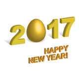 3D digits 2017 with golden egg instead of zero isolated on white. Background. New Year concept for chinese Year of rooster Stock Photo