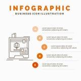 3d, dimensional, Maschine, Drucker, Infographics-Schablone f?r Website und Darstellung druckend Linie graue Ikone mit Orange vektor abbildung