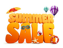 3D Dimensional Summer Sale Title Words in White Background Stock Images