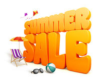 3D Dimensional Summer Sale Title Words in White Background Stock Photos