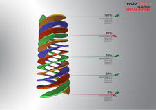 3D dimensions spiral stair. The 3D dimensions spiral stair white spectrum color for EPS 10 vector infographics Royalty Free Stock Photos