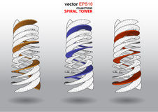 3D dimensions spiral stair. The 3D dimensions spiral stair white spectrum color for EPS 10 vector infographics Royalty Free Stock Images