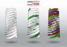 3D dimensions spiral stair. The 3D dimensions spiral stair white spectrum color for EPS 10 vector infographics Stock Photography