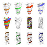 3D dimensions spiral stair. The 3D dimensions spiral white spectrum color for EPS 10 vector infographics Stock Images
