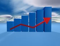 3d dimentional blue graph with cloudscape Royalty Free Stock Images