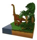 3d dinosaurussen dichtbij het meer Stock Afbeelding