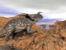 3D dinosaurussenlandschap - geef terug Stock Foto