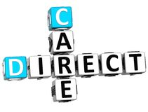 3D Direct Care Crossword text Royalty Free Stock Images