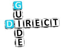 3D Direct Guide Crossword text Stock Photo