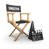3d Directors chair on film set. 3d render of a directors chair, megaphone and clapperboard Stock Photography