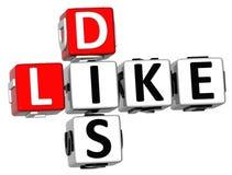 3D Dis gostam de palavras cruzadas Foto de Stock