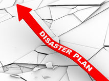 3d disaster plan rising arrow. 3d illustration of rising arrow with disaster plan over cracked and destroyed land.  Concept of stress management, disaster Royalty Free Stock Photography
