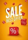 3D discount boxes dice for store market and shop. Sale best offer promotional poster or flyer brochure Stock Photos