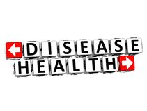 3D Disease Health Button Click Here Block Text Stock Photo