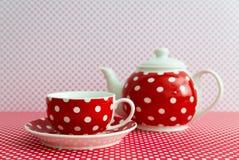 3d dishware herbata czerwona ustalona Obraz Stock