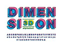 Vector of modern 3D bold alphabet design stock illustration