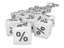 3d Distant white percent sign dice Royalty Free Stock Photography