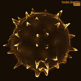 3D distorted sphere shape orange particles. Abstract 3D distorted sphere shape made of glowing particles vector illustration Royalty Free Stock Photos