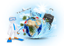 3d diver against Earth with airplane Stock Images