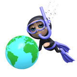 3d Diver with globe Stock Image