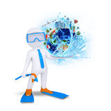 3d diver hold Earth with buildings and trees Stock Images