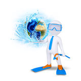 3d diver hold Earth with water splash Royalty Free Stock Photos