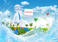 3d diver hold open laptop Stock Photo