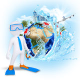 3d diver near the Earth with houses and trees Stock Photo