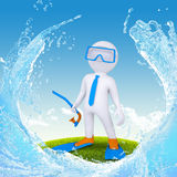 3d diver stand on green grass Stock Photo