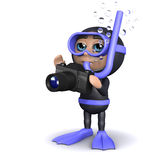 3d Diver takes a picture Royalty Free Stock Image