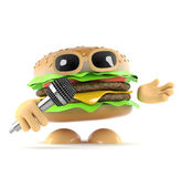 3d DJ Burger. 3d render of a burger singing into a microphone Royalty Free Stock Photography