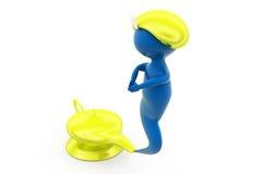 3d djinni with magic lamp concept Stock Images
