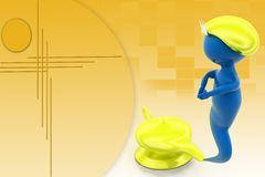 3d djinni with magic lamp illustration Stock Image