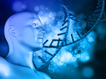 3D DNA medical background with male figure and DNA strand Stock Photos