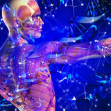 3d dna medyczny tło z męską postacią i wirusowymi komórkami Fotografia Stock