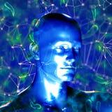 3d dna medyczny tło z męską postacią i wirusowymi komórkami Zdjęcie Royalty Free