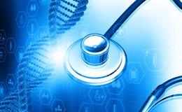3d DNA met stethoscoop Stock Illustratie