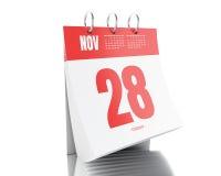 3d dnia kalendarz z daktylowym Listopadem 28, 2017 Zdjęcia Stock