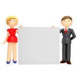 3D rendem do homem e da mulher de negócio que guardaram a placa vazia Fotos de Stock