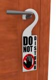 3D do not disturb sign. Rendering of the detail of a do not disturb sign hanged on the handle of a door vector illustration