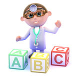 3d Doctor with alphabet blocks Royalty Free Stock Images