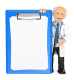 3D Doctor with a blank clipboard Stock Images
