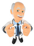 3D Doctor breaking a cigarette. No Smoking Stock Images