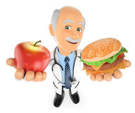 3D Doctor choosing between an apple and a hamburger. 3d medical people illustration. Doctor choosing between an apple and a hamburger. White background Royalty Free Stock Image