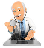 3D Doctor coming out a laptop screen with a stethoscope Royalty Free Stock Images