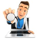 3d doctor coming out of laptop with stethoscope Stock Photos
